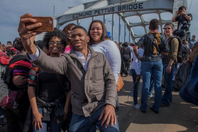"Stephen Marc: Untitled (Edmund Pettus Bridge, during the 50th Anniversary Commemoration of the ""Bloody Sunday"" March, Selma, AL)"