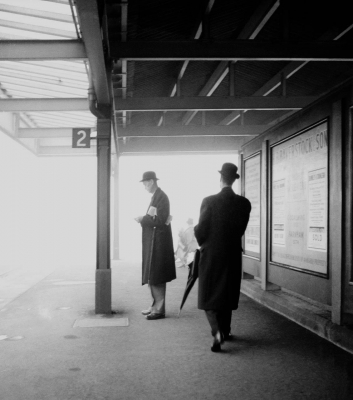 Francois Dolmetsch: Haslemere Station Platform, 1960, Commuters Waiting for the Train to London