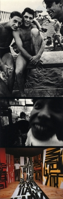 William Klein: Triptych of men at the beach, boy making face, and artist's studio