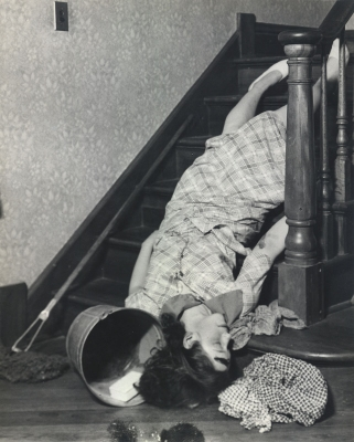 Lewis Hine: A serious accident resulting from household implements left on the stairway