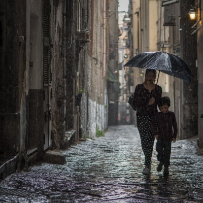 John Petro: A Walk in the Rain, Naples, Italy, 2017
