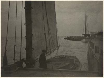 J. G. Baker: Untitled (harbor with figure and boat)