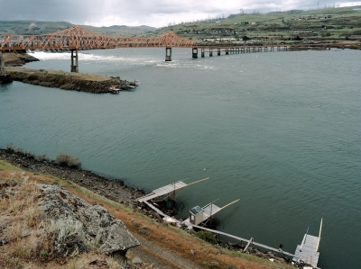 Dennis  DeHart: Confluence of Dalles Dam, Fishing Platforms, and Google Server Farm, Oregon/Washington