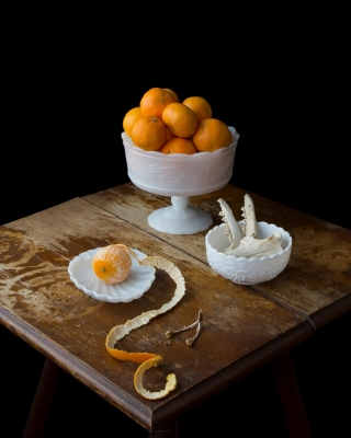"Kimberly Witham: On Ripeness and Rot #20 (Clementines and Fox Bones), from the series ""On Ripeness and Rot"""