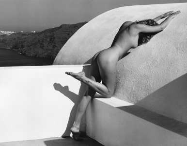 Art Zilio: Nude over Oia — The Villa, Santorini, Greece