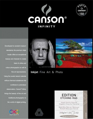 Canson Etching Rag Inkjet Paper, 13˝x19˝, 25 sheets, 310 gsm