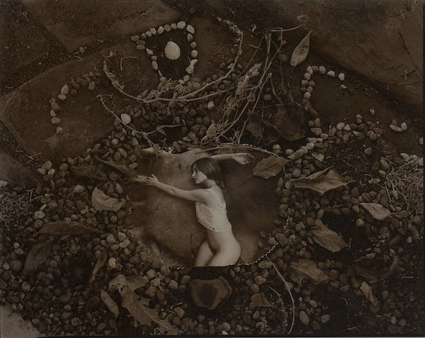 Diana Schoenfeld: Illusory Arrangement: Female Figure with Leaves and Stones
