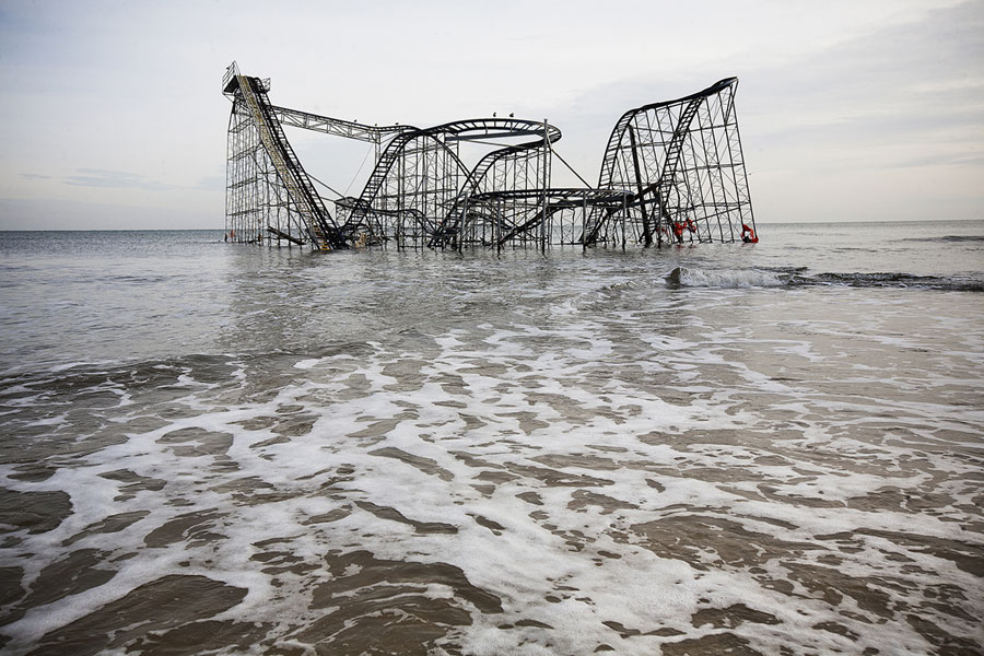 Harvey Stein: Jet Star Roller Coaster in Atlantic Ocean (Hurricane Sandy), 2012/2014