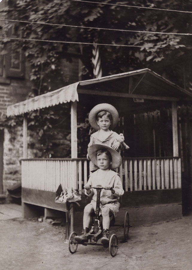 Unknown: Two Boys on Four-Wheeler, c. 1910