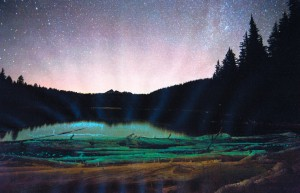 Cascade Lakes at night, painted digital print