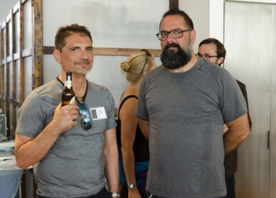Photo Review Board member Mark Colatrella and host Dominic Episcopo trying to look nonchalant. Photo: Stephen Perloff.