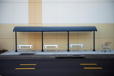 Aubrey J. Kauffman: 3 Benches and Shopping Cart