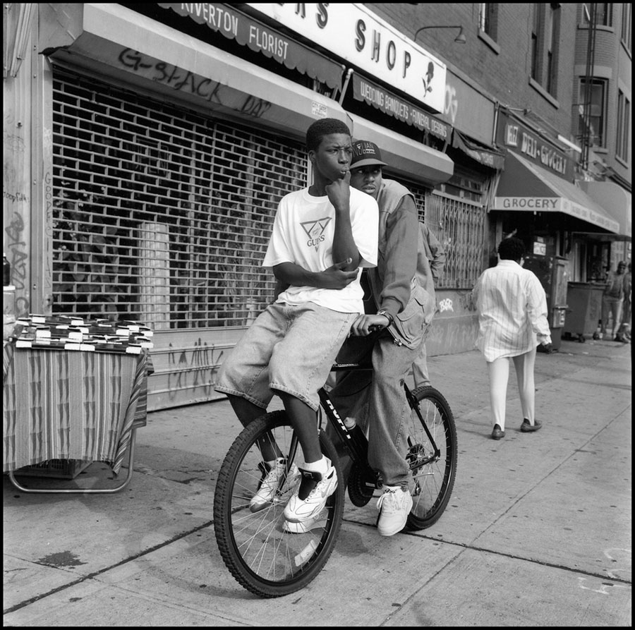 Gerald Cyrus: Two Young Men on Bike, Harlem, 1993, 1993