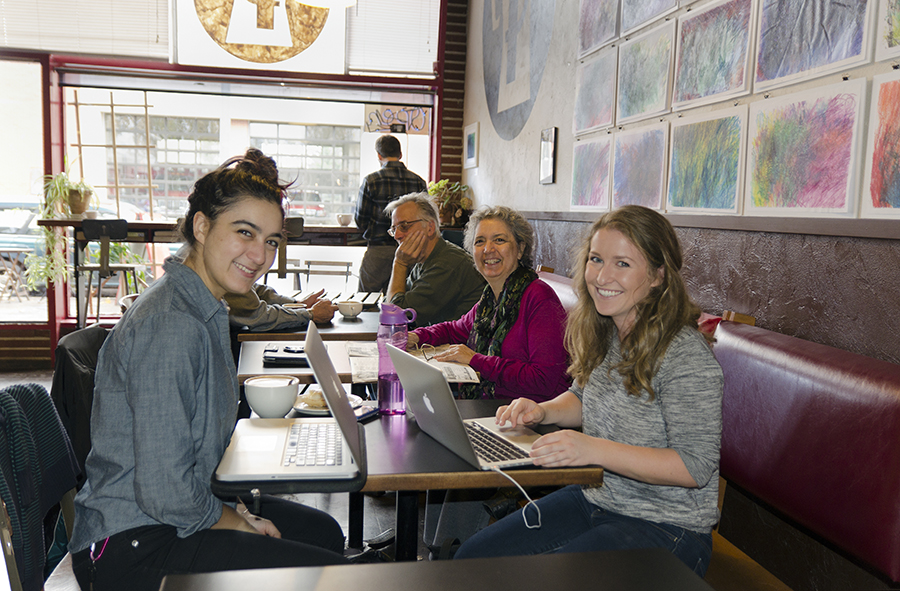 Left to Right: Cressa Perloff, Naomi Mindlin, and Katie Foltz at The Photo Review's West Coast Branch, Perk Coffee and Espresso